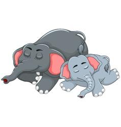 cute elephant cartoon sleeping with her baby vector image
