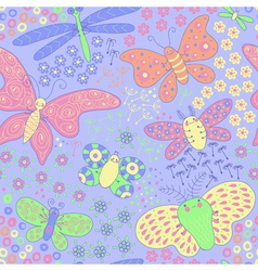 Seamless texture with butterflies and flowers vector image