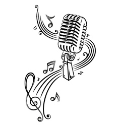 Sheet music music microphone vector image