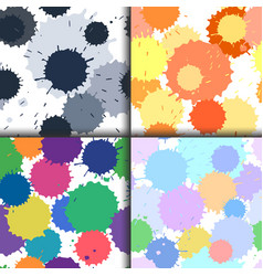 Set of ink and paint spots seamless patterns vector