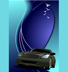 blue abstract background with car image vector image