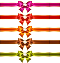 Holiday bows with diamonds and ribbons vector