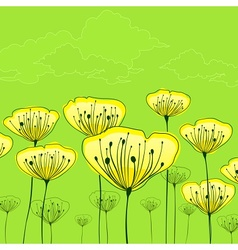 Stylized flowers on green vector image