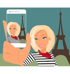 Blond woman is taking selfie in paris vector