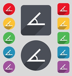 Angle 45 degrees icon sign a set of 12 colored vector