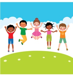 Group of happy jumping children vector