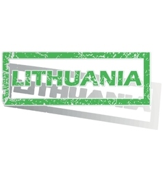 Green outlined lithuania stamp vector