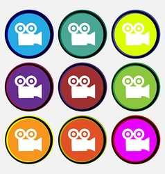 Video camera icon sign nine multi colored round vector