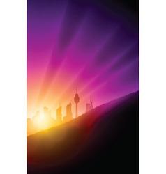 Sunset cityscape vector image