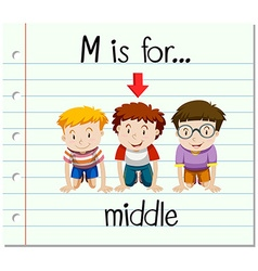 Flashcard letter M is for middle vector image