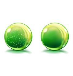 Two big green glass spheres vector