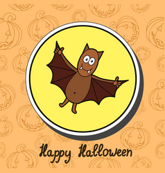 Bat on halloween background happy halloween vector