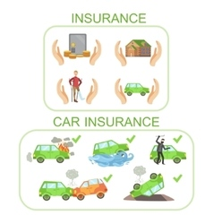 Car and other insurance infographic poster vector