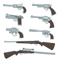 Cartoon guns revolver and rifles set vector