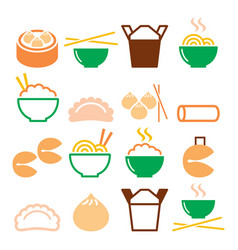 Chinese take away food - pasta rice spring rolls vector