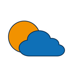 cloud and sun icon vector image vector image
