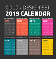 color pocket calendar set 2019 vector image