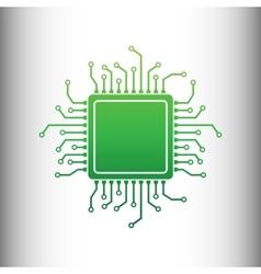 Cpu microprocessor green gradient icon vector