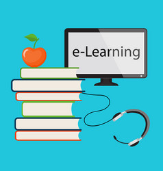 E-learning with computer monitor vector