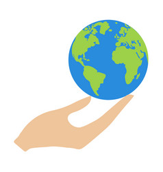 earth in hand vector image vector image
