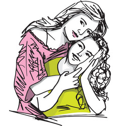 Family mother and child daughter vector