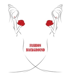fashion background with girl or woman sketch vector image vector image