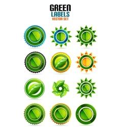 Green leaf labels eco friendly badges vector image