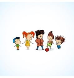 Group children in line vector