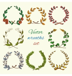 Hand drawn wreaths colored set vector