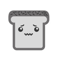 Kawaii bread slice vector