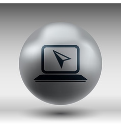 Laptop Icon on Button with Original vector image