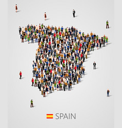 large group of people in form of spain map vector image vector image