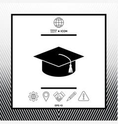 Master cap for graduates square academic cap vector