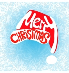 Merry christmas hat lettering vector