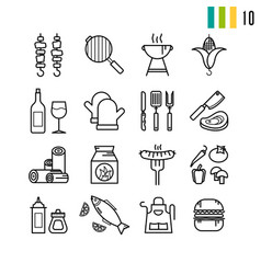 outline set of bbq grill icons vector image