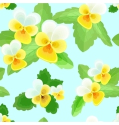 Pansies on a Blue Background vector image vector image