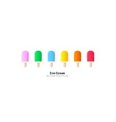 rainbow colors popsicles ice cream set vector image