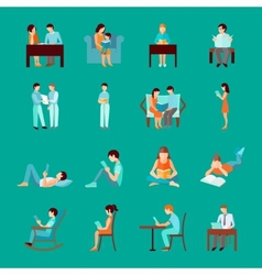 Reading People Set vector image vector image