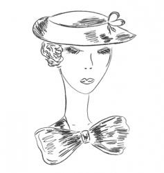 retro woman sketch vector image vector image