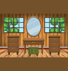 Room with wooden furniture vector