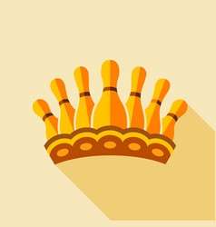 royal crown with bowling pins icon flat style vector image