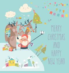 Santa and reindeers take a selfie vector