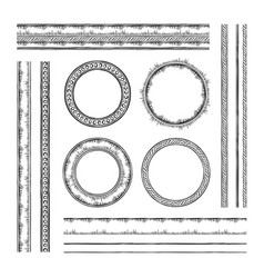 Set of round frames and borders rope and dotted vector