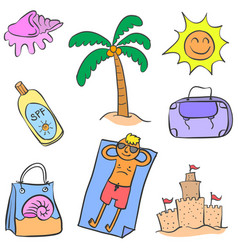 Summer element theme of doodle style vector