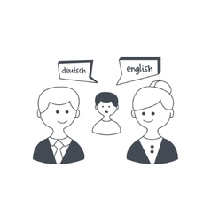 Synchronized translation on business meeting vector