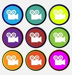 video camera icon sign Nine multi colored round vector image vector image