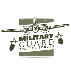 Vintage military logotype template vector