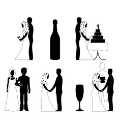 wedding silhouette set vector image vector image