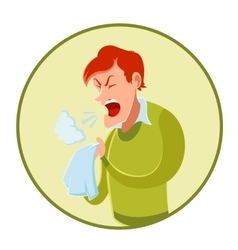 Sneezing man and a handkerchief vector