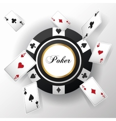 Cards of poker and chip design vector
